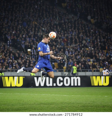 KYIV, UKRAINE - MARCH 19, 2015: Phil Jagielka of FC Everton controls a ball during UEFA Europa League game against FC Dynamo Kyiv at Olympic stadium in Kyiv - stock photo