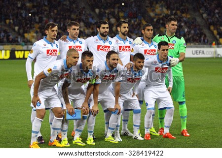 KYIV, UKRAINE - MAY 14, 2015: Players of SSC Napoli team pose for a group photo before UEFA Europa League semifinal game against FC Dnipro at NSK Olimpiyskyi stadium - stock photo