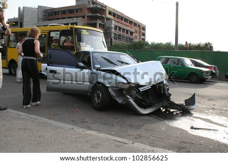 KYIV, UKRAINE - MAY 10: The city bus collided with a car in the city center, May 10, 2011 in Kiev, Ukraine