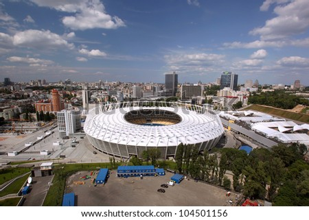 KYIV, UKRAINE - MAY 27: The Olympic Stadium After Reconstruction for The UEFA EURO 2012 on May 27, 2012 in Kyiv, Ukraine - stock photo