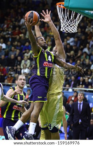 KYIV, UKRAINE - OCTOBER 17: Bo McCalebb of Fenerbahce Ulker (#4) in action during Turkish Airlines Euroleague game against Budivelnik on October 17, 2013 in Kyiv, Ukraine