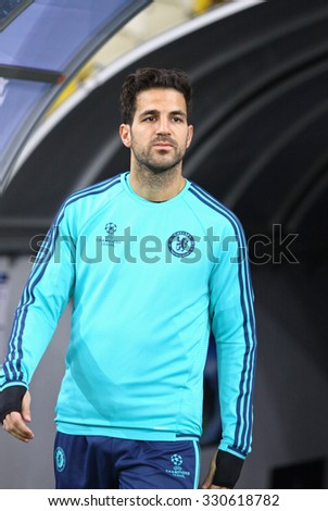 KYIV, UKRAINE - OCTOBER 19, 2015: Cesc Fabregas of FC Chelsea walks on during training session at NSC Olimpiyskyi stadium before UEFA Champions League game against FC Dynamo Kyiv - stock photo