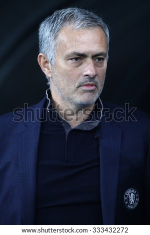 KYIV, UKRAINE - OCTOBER 20, 2015: FC Chelsea manager Jose Mourinho looks on during UEFA Champions League game against FC Dynamo Kyiv at NSC Olimpiyskyi stadium in Kyiv