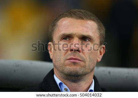KYIV, UKRAINE - OCTOBER 20, 2015: head coach Serhiy Rebrov close-up portrait, UEFA Chamions League Group Stage match between Dynamo Kyiv and Chelsea