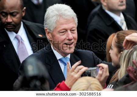 KYIV, UKRAINE - OCTOBER 03, 2010 : 42nd US President Bill Clinton during a public lecture in Kiev 3 October 2010 - stock photo