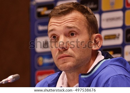 KYIV, UKRAINE - OCTOBER 3, 2016: Ukraine National Team head coach Andriy Shevchenko attends press-conference before the FIFA World Cup 2018 Qualifying matches. NSC Olympic stadium, Kyiv, Ukraine