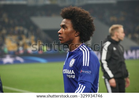 KYIV, UKRAINE - OCTOBER 20, 2015: Willian of Chelsea after the UEFA Champions League game with Dynamo Kyiv at NSC Olimpiyskiy stadium on October 20, 2015 in Kyiv, Ukraine.