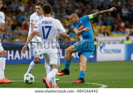 KYIV, UKRAINE - SEPT 13, 2016: Marek Hamsik of SSC Napoli during UEFA Champions League game against FC Dynamo Kyiv at NSC Olympic stadium