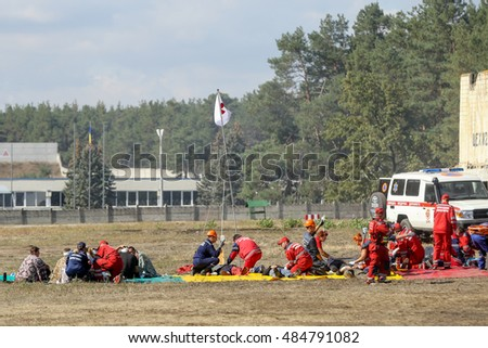 KYIV, Ukraine - Sept. 18, 2016: The Rescuers' Day in Ukraine. Rescue teams performing a huge training event for the public.