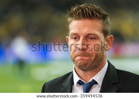 KYIV, UKRAINE - SEPTEMBER 16, 2015: Andrei Voronin former Ukrainian footballer, striker, during an interview on Olimpiyskyi stadium in Kyiv during  game between FC Dynamo Kyiv and FC Porto