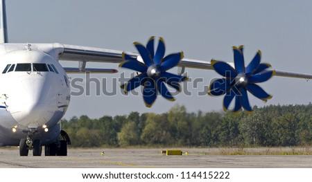 KYIV, UKRAINE - SEPTEMBER 29:Antonov An-70 transport aircraft during Aviation Salon AVIASVIT-XXI;September 29, 2012 in Kyiv, Ukraine - stock photo