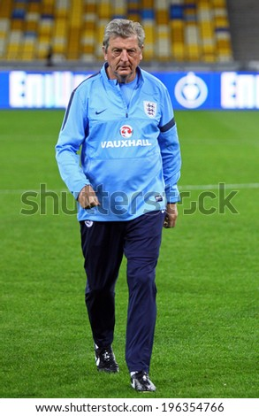 KYIV, UKRAINE - SEPTEMBER 9, 2013: England National football team manager Roy Hodgson walks during training session before FIFA World Cup 2014 qualifier game against Ukraine - stock photo