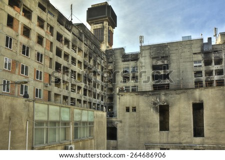 KYIV, UKRAINE - SEPTEMBER 25: exterior of the Trade Unions Building on September 25, 2014 in Kyiv, Ukraine. During Euromaidan protestor's bodies were burnt inside the Trade Unions Building. - stock photo