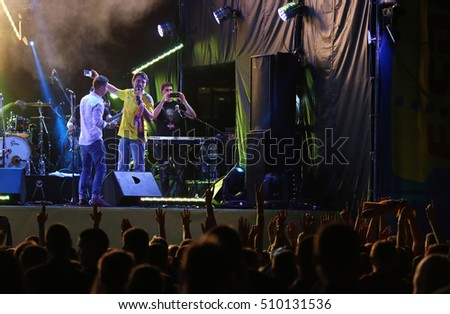 KYIV, UKRAINE - SEPTEMBER 5, 2016: Rock-concert at Troyitska square near the NSC Olympic stadium before FIFA World Cup 2018 qualifying game Ukraine v Iceland in Kyiv, Ukraine