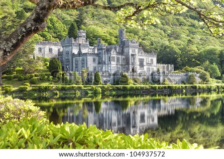 Kylemore Abbey in Connemara, County Galway, Ireland. - stock photo