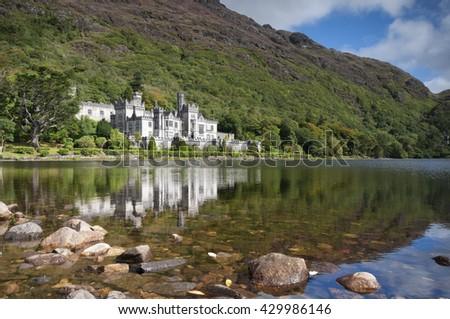 Kylemore Abbey in Connemara, County Galway, Ireland, Europe - stock photo