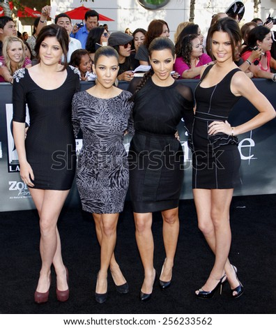 "Kylie Jenner, Kourtney Kardashian, Kim Kardashian and Kendall Jenner at the Los Angeles Premiere of ""The Twilight Saga: Eclipse"" held at the Nokia LA Live Theater in Los Angeles, USA on June 24, 2010. - stock photo"