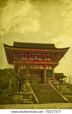 Kyomizu temple on old dirty paper, taken in Japan/kyoto - stock photo