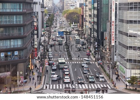 KYOTO, JAPAN - APRIL 18: Drivers move in heavy traffic on April 18, 2012 in Kyoto, Japan. With 589 vehicles per capita, Japan is among most motorized countries worldwide, which causes heavy traffic.
