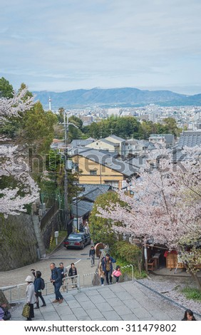 KYOTO, JAPAN- APRIL 4, 2015: Tourists visit Kiyomizu-dera temple in Kyoto. It is an independent Buddhist temple in eastern Kyoto. The temple is part of the Historic Monuments of Ancient Kyoto