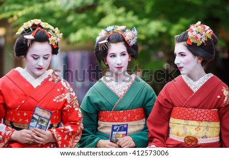 KYOTO, JAPAN - JUNE 10: Unidentified tourist women dress like a Maiko, Tourists usually makeup as Geishas (also known as Maiko) in Kyoto on June 10, 2015 in Japan
