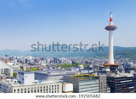 Kyoto, Japan skyline at Kyoto Tower daytime - stock photo