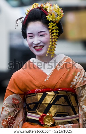 KYOTO - OCT  22: a participant on The Jidai Matsuri ( Festival of the Ages) held on October 22 2009  in Kyoto, Japan . It is one of Kyoto's renowned three great festiva - stock photo