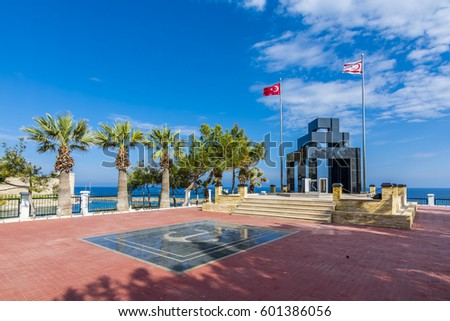 Kyrenia Cyprus - March 08, 2017 : Turkish Navy Martyrdom view in Kyrenia. Kyrenia is populer tourist destination in Northern Cyprus.