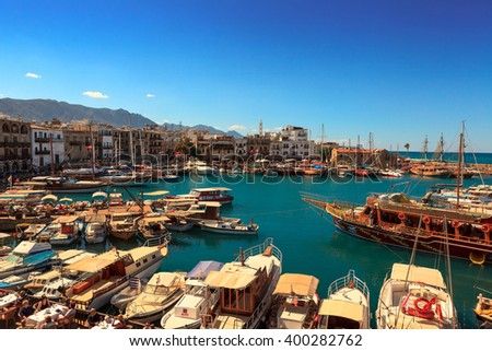 KYRENIA, CYPRUS - OCTOBER 6, 2013:  Historic harbour and the old town in Kyrenia (Girne) on the Island of Cyprus.