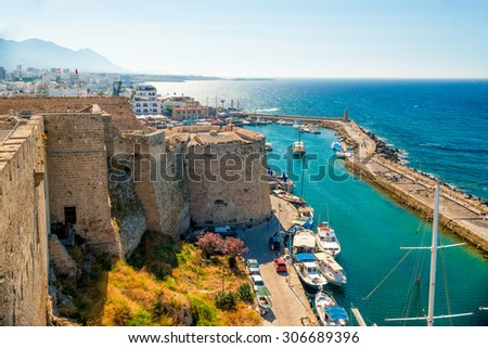 Kyrenia (Girne) Castle, view of Venetian tower. Cyprus - stock photo