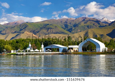Kyrgyzstan . Lake Issyk-kyl - stock photo