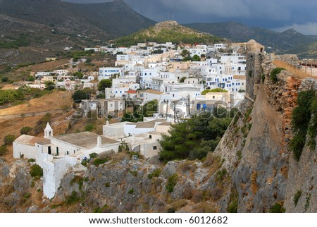Kythira, Hora village, view from the castle, Greece