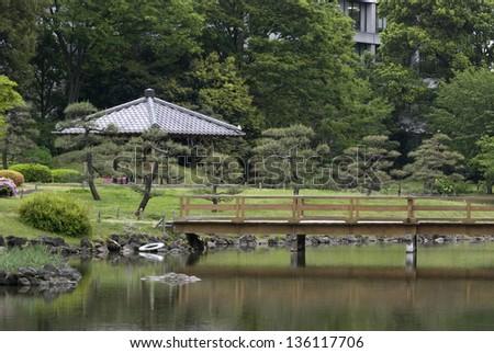 Kyu-Shiba-Rikyu Garden, Tokyo, Japan - stock photo