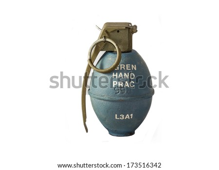 L3A1 - Modern practice grenade, British. A 2 piece sheet metal oval grenade with threaded hole in top leading to detonator housing tube; contains filling to simulate real weight - stock photo