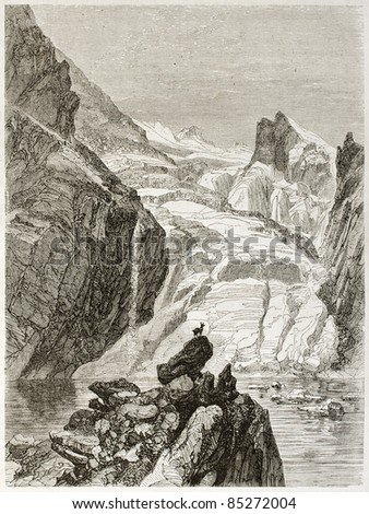 L'Eychauda lake old view, France. Created by Sabatier and Maurand, published on Le Tour du Monde, Paris, 1860 - stock photo