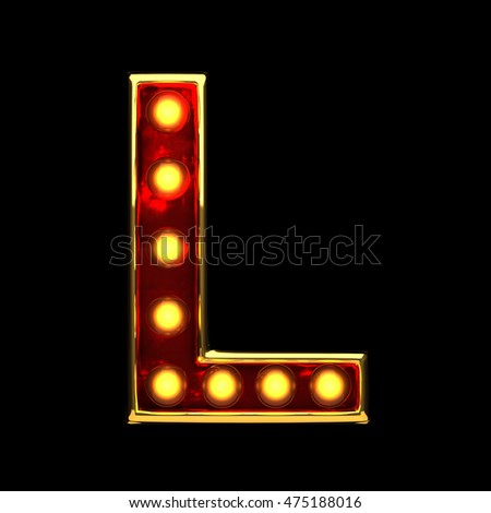 l isolated golden letter with lights on black. 3d illustration