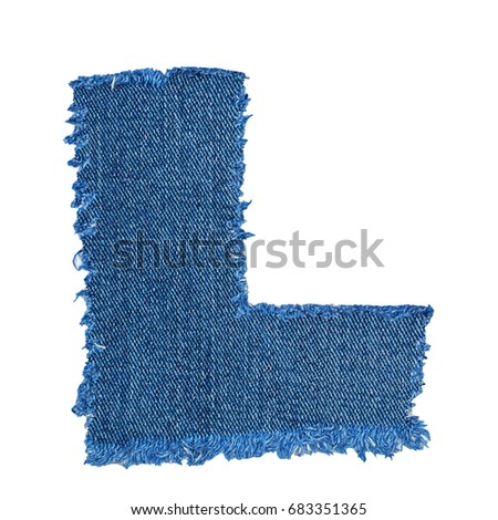 L letter cut denim fabric isolated stock photo royalty free l letter cut from denim fabric isolated on white background ripped torn denim jeans frame spiritdancerdesigns Images