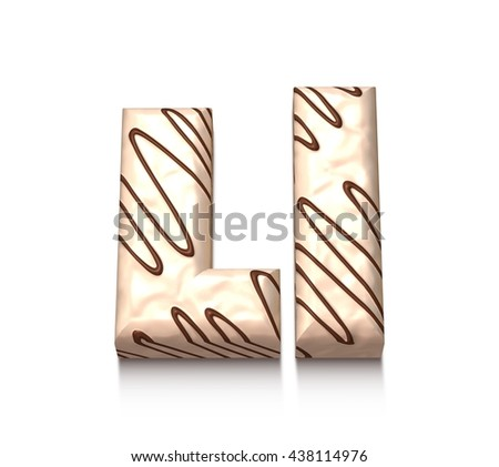L letter of white chocolate with brown cream in 3d rendered on white background. - stock photo
