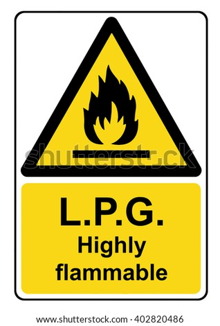 L.P.G. highly flammable yellow warning sign - stock photo