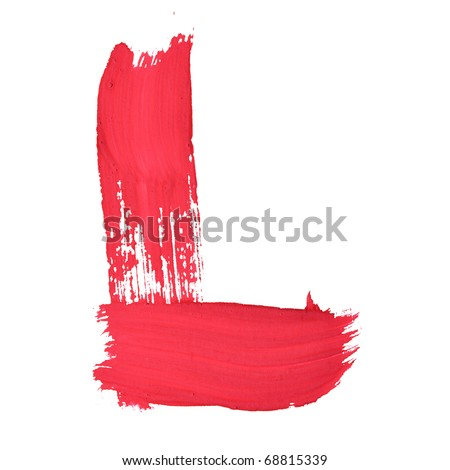 L - Red handwritten letters over white background