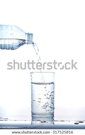 l water in glass on white background