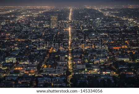 LA aerial view at night - stock photo