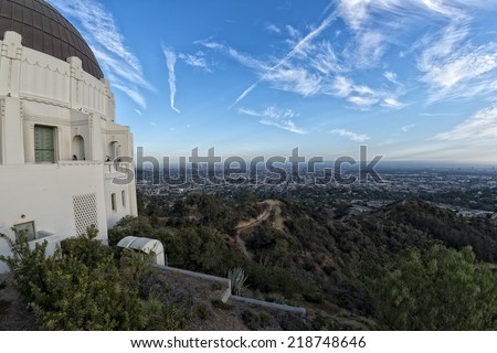 LA aerial view from observatory - stock photo