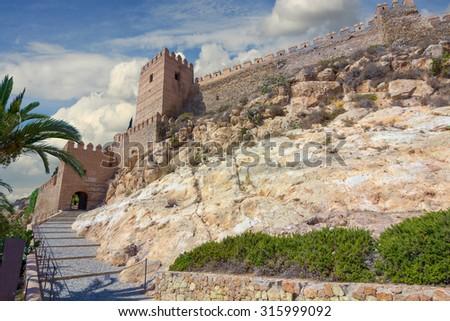 La Alcazaba and walls of the Cerro de San Cristobal, Almeria Spain - stock photo