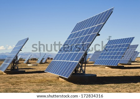 La Calahorra, Granada, Spain; Solar Panels - stock photo