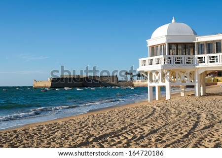 La Caleta beach in Cadiz, Andalucia, Spain - stock photo