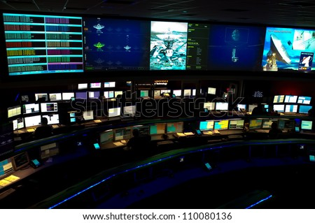 LA CANADA, CA - AUGUST 13: The NASA Mars Science Laboratory, named Curiosity, is controlled by the Space Flight Operations Center at the Jet Propulsion Laboratory in La Canada, CA on August 13, 2012. - stock photo
