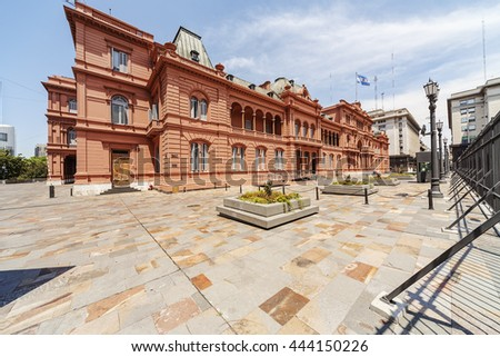 La Casa Rosada (The Pink House) is  mansion and office of the President of Argentina located in Argentina capital city Buenos Aires - stock photo