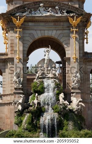 La Cascada in Parc de la Ciutadella in Barcelona, Catalonia, Spain. Monument designed in 19th century by Josep Fontsere in Baroque style. - stock photo