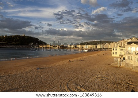 La Concha beach. Donostia San Sebastian. Gipuzkoa. Spain - stock photo